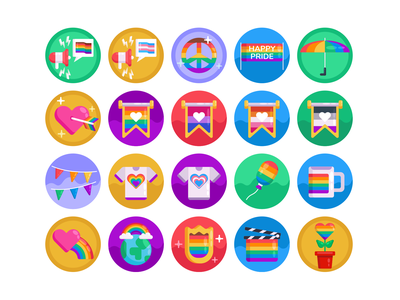 Pride LGBT Icons rainbow pridemonth gaypride lbgtqia lgbtq icons pack icon coloured icons vectors vector icons flat icons