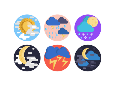 Weather Icons cloud rain moon weather forecast weather icon weather app weather illustration icons pack icon coloured icons vectors vector icons flat icons