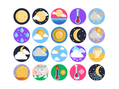 Weather Icons wind rain cloud sun weather forecast weather icon weather app weather illustration icons pack icon coloured icons vectors vector icons flat icons