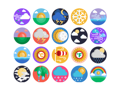 Weather Icons rain rainbow cloud sun weather forecast weather icon weather app weather illustration icons pack icon coloured icons vectors vector icons flat icons