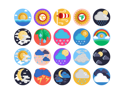Weather Icons moon rain cloud weather forecast weather icon weather weather app illustration icons pack icon coloured icons vectors vector icons flat icons