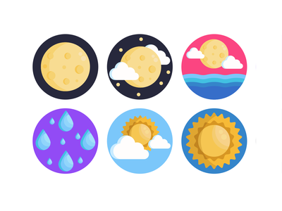 Weather Icons solar system moon rain sun weather forecast weather icon weather app weather illustration icons pack icon coloured icons vectors vector icons flat icons