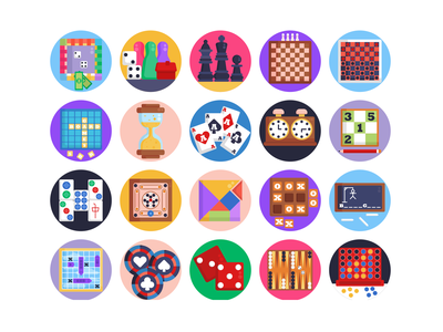 Board Games Icons chessboard chess piece chess gaming app gaming board game icons pack icon coloured icons vectors vector icons flat icons
