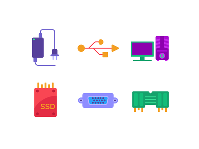 Colorful Computer Hardware Color Icons icons pack icon coloured icons vectors vector icons flat icons computer hardware port hdmi desktop computer charger ssd