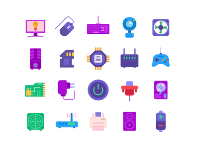 Computer Hardware Color Icons ui icons pack icon mouse coloured icons vectors vector icons flat icons storage transmitor microprocessor desktop computer monitor