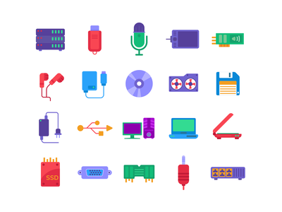 Computer Hardware Color Icons icons pack icon coloured icons vectors vector icons flat icons computer parts hardware computer storage ssd monitor computer desktop microphone