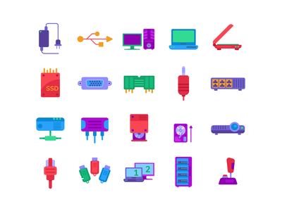Computer Hardware Color Icons icons pack icon coloured icons vectors vector icons flat icons transmittors cables computer parts hardware computer storage floppy disk flash disk hdmi port projector