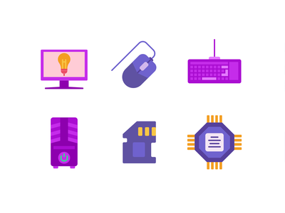Computer Hardware Color Icons computer computer hardware microprocessor icons pack icon coloured icons vectors vector icons flat icons