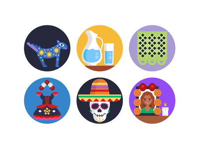 Day of the Dead Icons celebration holiday day of the dead icons pack icon coloured icons vectors vector icons flat icons