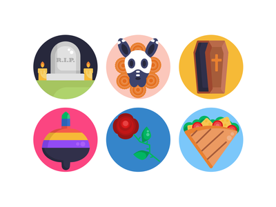 Day of the Dead Icons gravestone casket celebration holiday day of the dead icons pack icon coloured icons vectors vector icons flat icons