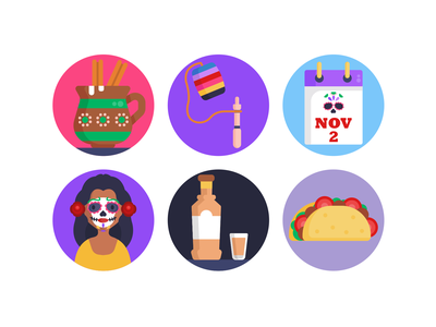 Day of the Dead Icons mask sandwich icons pack icon coloured icons vectors vector icons flat icons holiday costume skull day of the dead