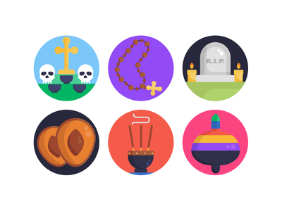 Day of the Dead Icons beads gravestone day of the dead icons pack icon coloured icons vectors vector icons flat icons