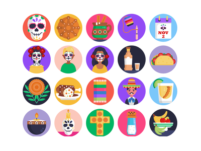 Day of the Dead Icons food celebration holiday costume icons pack icon coloured icons vectors vector icons flat icons day of the dead