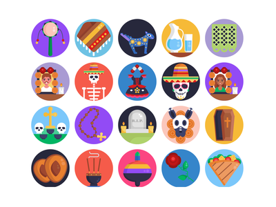 Day of the Dead Icons sandwich skeleton costume beads gravestone grave holiday celebration icons pack icon coloured icons vectors vector icons flat icons day of the dead