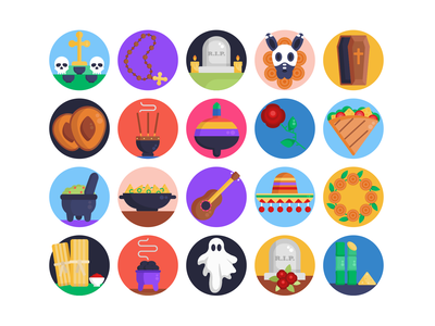 Day of the Dead Icons beads gravestone graveyard day of the dead icons pack icon coloured icons vectors vector icons flat icons