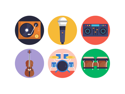 Music Icons icons pack icon coloured icons vectors vector drum set guitar icons flat icons music code music instrument microphone