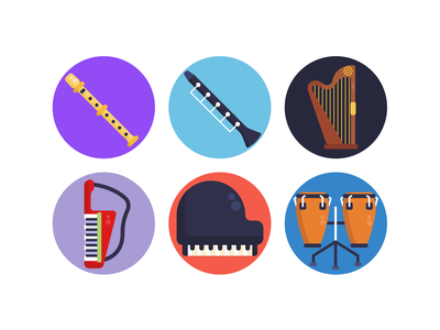 Music Icons keyboard piano drums icons pack icon coloured icons vector vectors icons flat icons music musical instruments trumpet xylophone