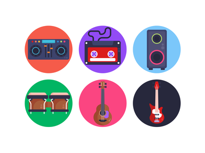 Music Icons icons pack icon coloured icons vectors vector icons flat icons solo guitar guitar instrument music cassette