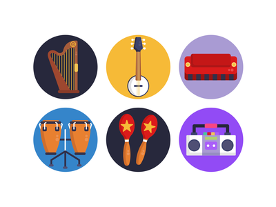 Music Icons icons pack icon coloured icons vectors vector icons flat icons drums radio guitar shakers violin keyboard