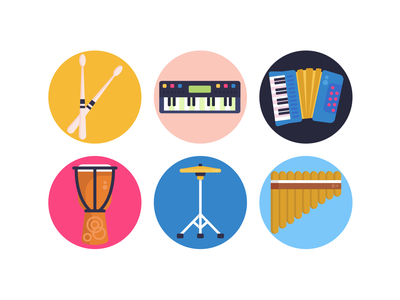 Music Icons drum xylophone icons pack icon coloured icons vectors vector icons flat icons accordion keyboard drum sticks