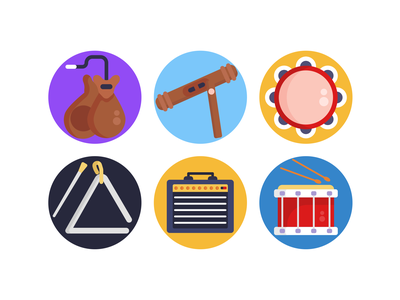Music Icons drums whistle music instrument icons pack icon coloured icons vectors vector icons flat icons