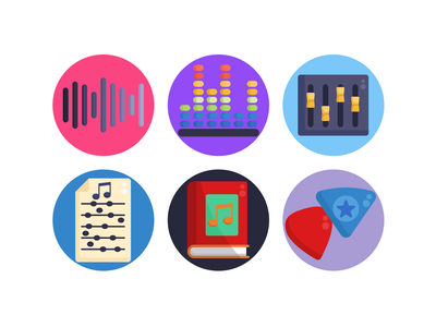 Music Icons placards music book music instruments icons pack icon coloured icons vectors vector icons flat icons