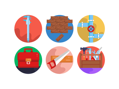 Construction & Building Icons icons pack icon coloured icons vectors vector icons flat icons saw caliper tools building tools tool box construction tools
