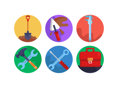 Construction & Building Icons icons pack icon coloured icons vectors vector icons flat icons tool box spanner hammer caliper construction tools shovel