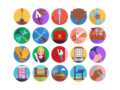 Construction & Building Icons icons pack icon coloured icons vectors vector icons flat icons barrier excavator caliper building tool box hammer shovel construction tools