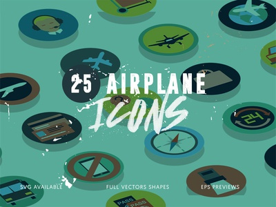 25 Airplane Travel Icons
