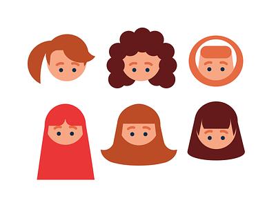 Avatar creator kit - Female Hair Style hair style icons female hair style female icons flat design avatar flat icons avatar creator avatar icons avatar builder