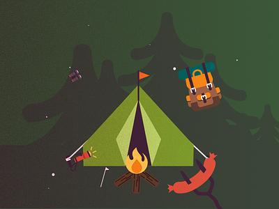 Camping scene illustration backpack flashlight boat camping map fire illustration camp