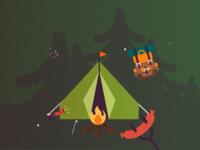 Camping scene illustration