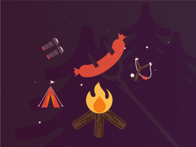 Fire camp scene illustration