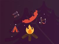 Fire camp scene illustration