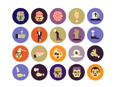Halloween Zombie Icons halloween icons zombie icons flat icons scary dead zombie