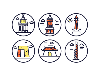 Landmarks Outline Icons WIP outline icons vectors illustrations building monuments landmark icons landmark