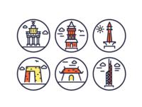 Landmarks Outline Icons WIP