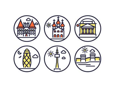 Landmarks Line Icons 3 buldings vector landmark landmark icons monuments building illustrations vectors outline icons