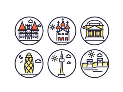 Landmarks Line Icons 3