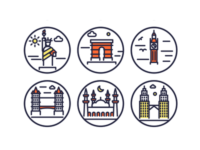 Landmarks Outline Icons outline icons vectors illustrations building monuments landmark icons landmark