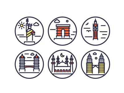 Landmarks Outline Icons