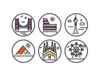 Landmark Outline Icons