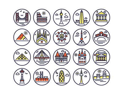 Landmarks Outline Icons landmark landmark icons monuments building illustrations vectors outline icons