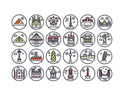 Landmarks Outline Icons buldings vector landmark landmark icons monuments building illustrations vectors outline icons