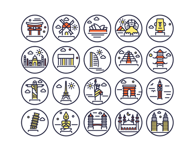 Landmarks Line Icons Copy landmark landmark icons monuments building illustrations vectors outline icons