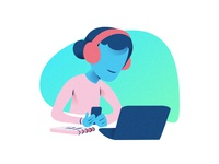Character Listening To Music On Phone Illustration