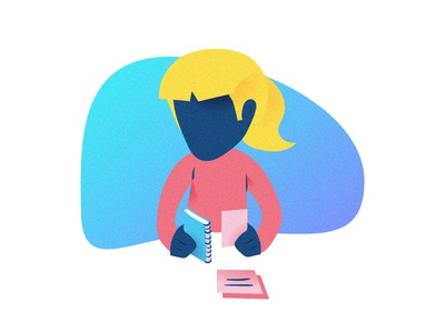 Checking Reading Notes Illustration profile avatar icons books notes reading drawing illustration character