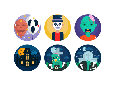 Halloween Icons scary icons zombie icons halloween icons halloween illustration design icon vector coloured icons icons flat icons