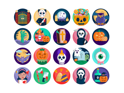 Halloween Icons badge design illustration icon vector coloured icons icons flat icons death vectors zombie icons halloween pumpkin vector scary icons set halloween icons